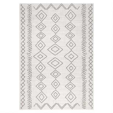 Ivory And Gray Diamond Salma Indoor Outdoor Rug