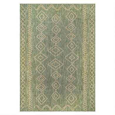 Green And Ivory Diamond Salma Indoor Outdoor Rug