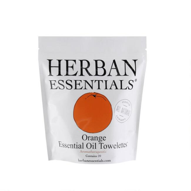 Herban Essentials Orange Essential Oil Wipes 20 Count