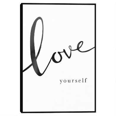 Love Yourself By Clara Wells Framed Canvas Wall Art