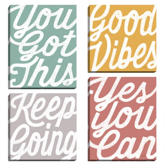 Positivity By Laura Marshall Canvas Wall Art 4 Piece