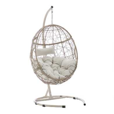 Brown All Weather Wicker Astrud Hanging Egg Chair with Stand