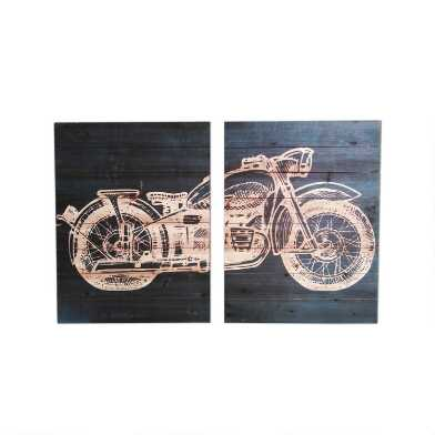 Wood Plank Motorcycle Diptych Wall Art 2 Piece