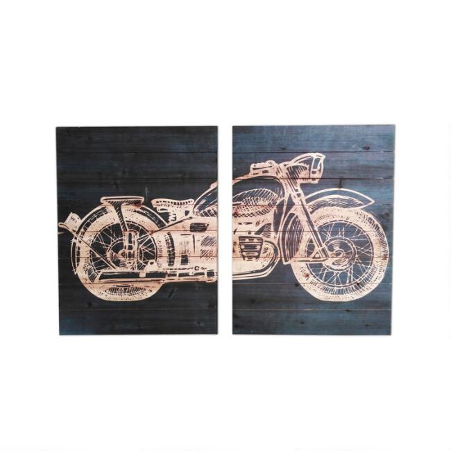 Motorcycle Diptych Wood Plank Wall Art 2 Piece