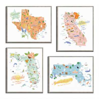 American States by Clara Wells Canvas Wall Art 4 Piece
