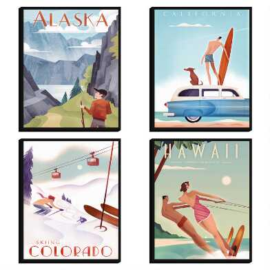 Travel Posters by Martin Wickstrom Canvas Wall Art 4 Piece