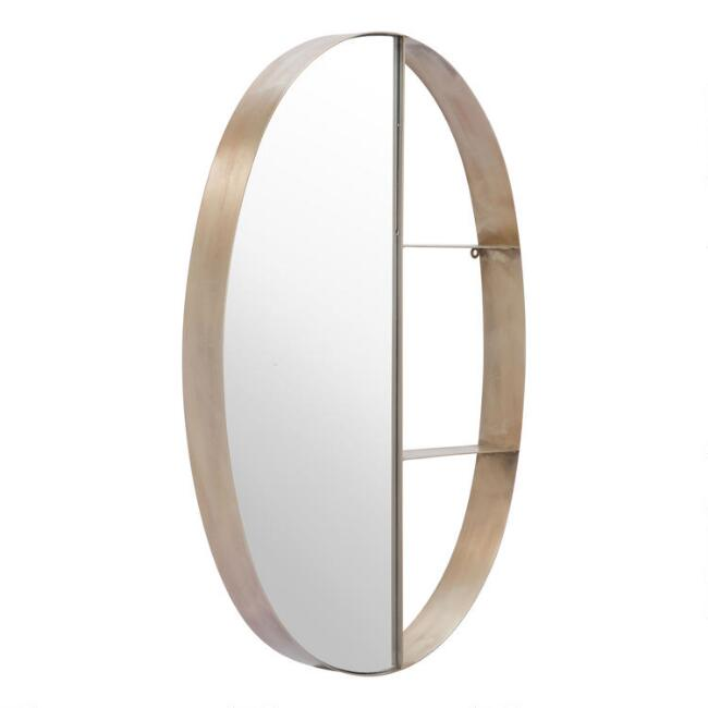 Oval Antique Bronze Mirror With Shelves