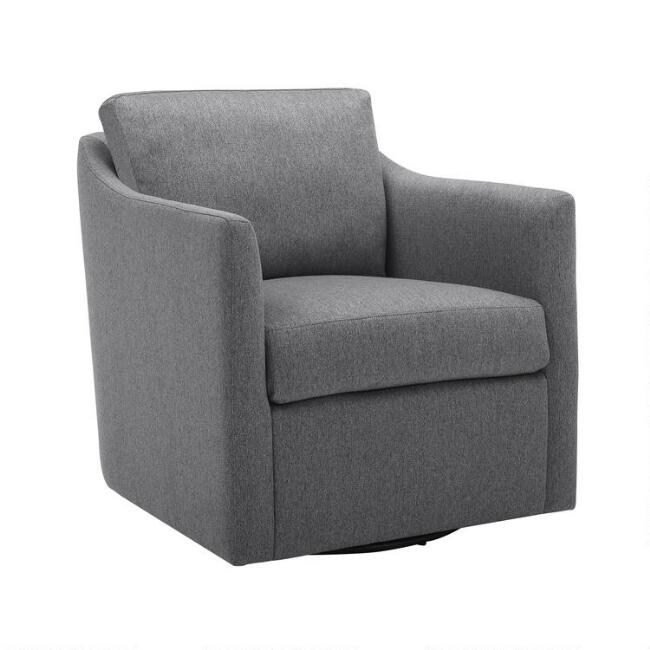 Gray Slope Arm Melvin Swivel Chair