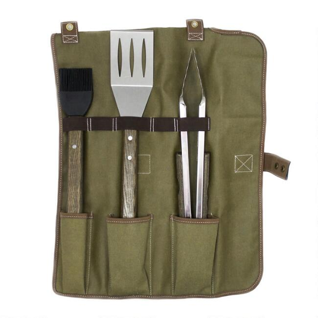 Barbecue Grill Tools 3 Piece Set With Canvas Tote