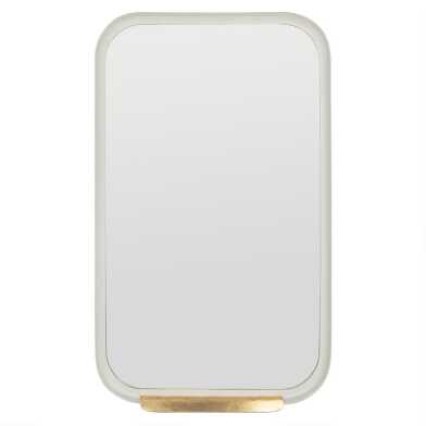 White Rounded Rectangular Mirror with Gold Ledge