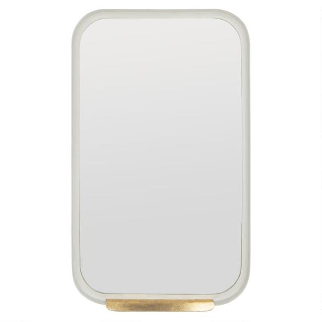 Rectangular White Mirror With Gold Ledge