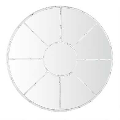Round Distressed White Windowpane Mirror