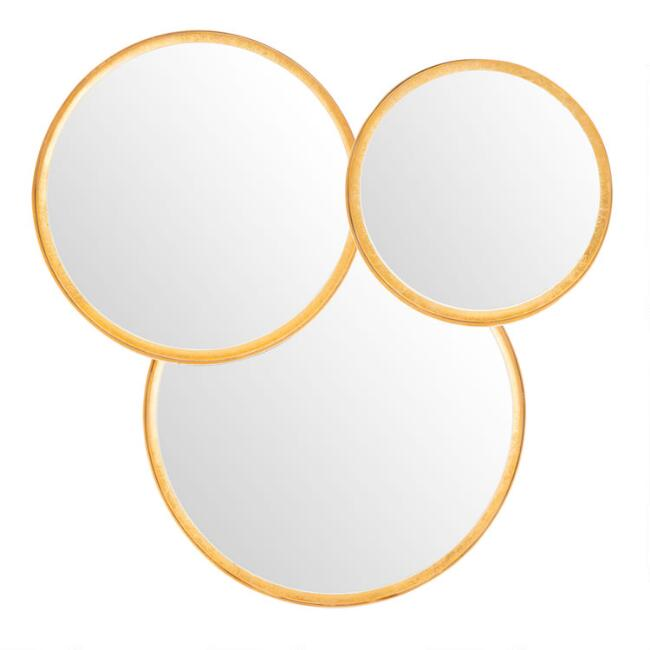 Round Gold and White Foil Layered Mirror
