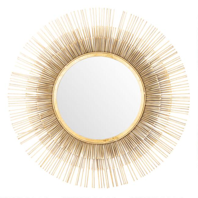 Round Gold Sunburst Spoke Wall Mirror