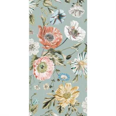 Dusty Teal Vintage Poppies Peel And Stick Wallpaper