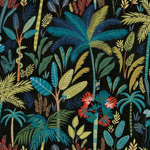 Blue And Black Tropical Peel And Stick Wallpaper World Market