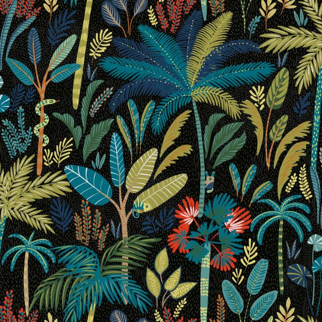 Blue and Black Tropical Peel And Stick Wallpaper
