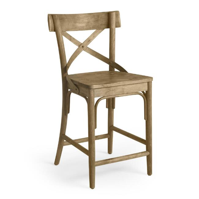 Distressed Wood Bistro Counter Stool