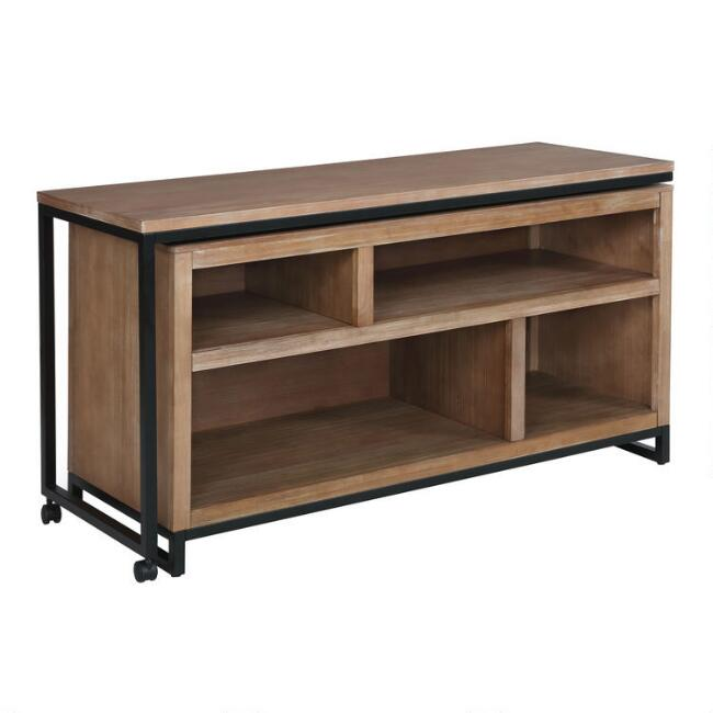 Metal and Wood Weldon Swivel Desk with Storage