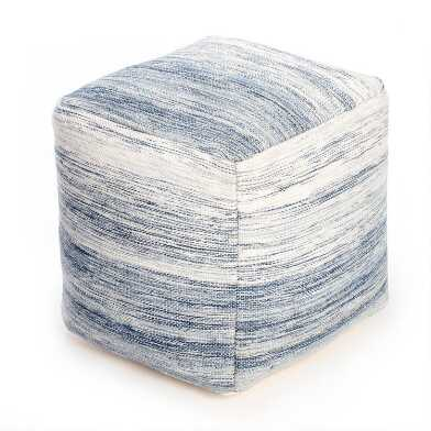 Square Blue And Ivory Bar Harbor Pouf