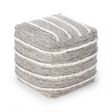 Square Gray and Ivory Fringe Taos Pouf