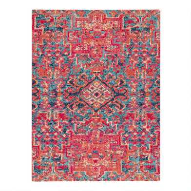Red And Blue Medallion Office Chair Mat