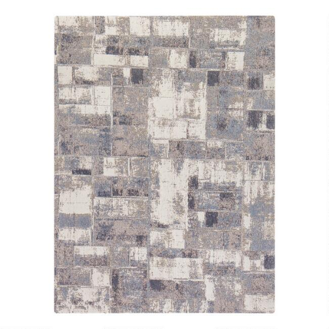 Gray And Beige Abstract Square Office Chair Mat