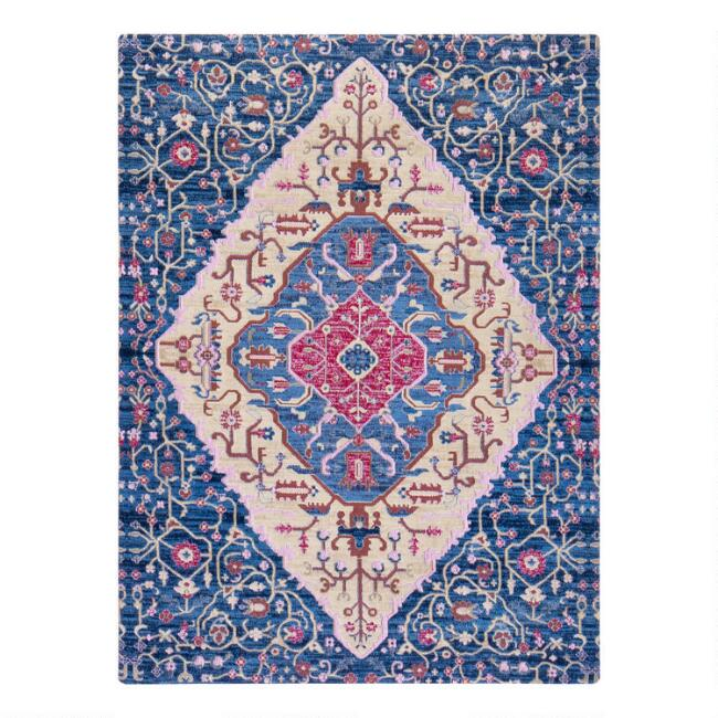 Blue And Red Medallion Office Chair Mat