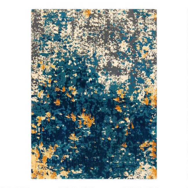 Blue And Orange Abstract Office Chair Mat