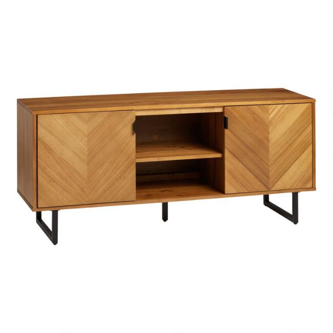 Golden Brown Wood Chevron Navu Media Cabinet