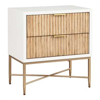 Textured Wood Ashbury Nightstand with Drawers