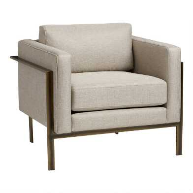 Bronze Metal and Taupe Nicklas Upholstered Chair