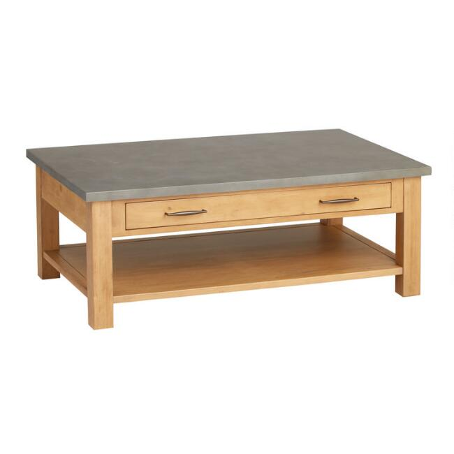 Faux Concrete and Wood Cordova Coffee Table