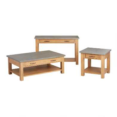 Faux Concrete and Wood Cordova Table Collection
