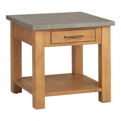 Faux Cement and Wood Cordova End Table With Drawer