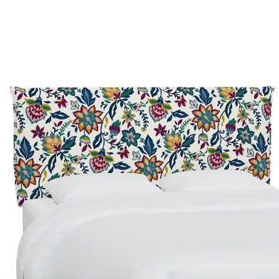 Folk Floral Jewel Hyde Upholstered Headboard