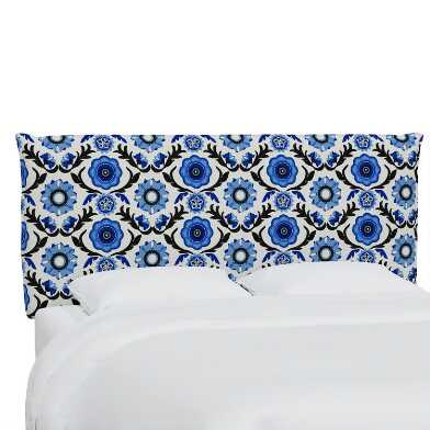 Tulum Blue Hyde Upholstered Headboard