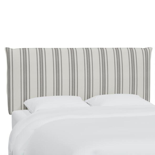 Philip Stripe Neutral Hyde Upholstered Headboard