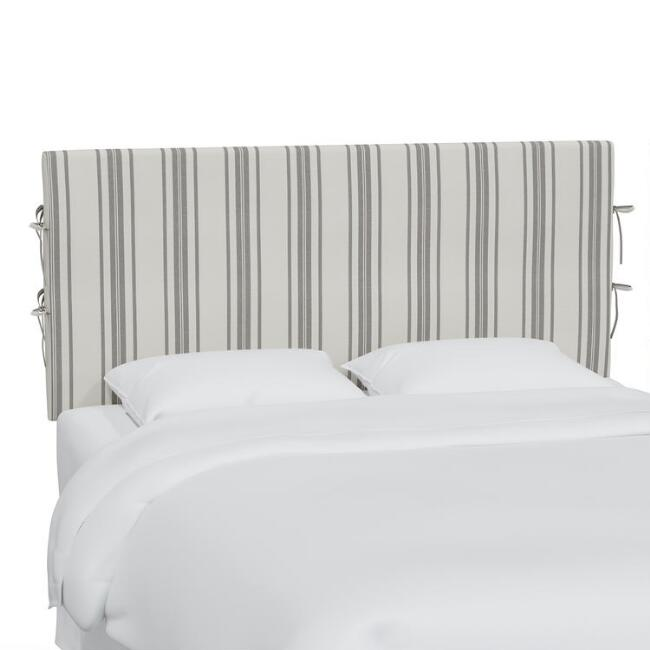 Philip Stripe Neutral Larisa Slipcover Upholstered Headboard