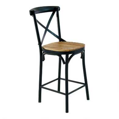 Metal and Elm Wood Bistro Logan Counter Stool