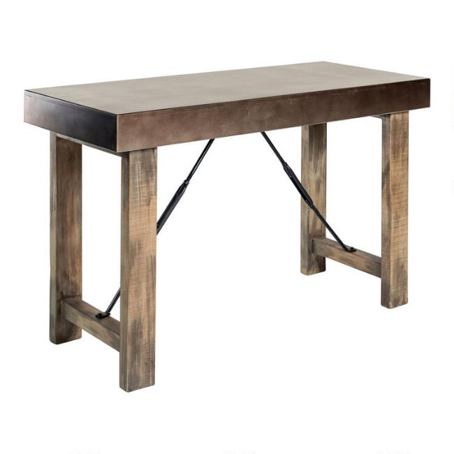 Zinc and Reclaimed Pine Sonoma Counter Height Dining Table