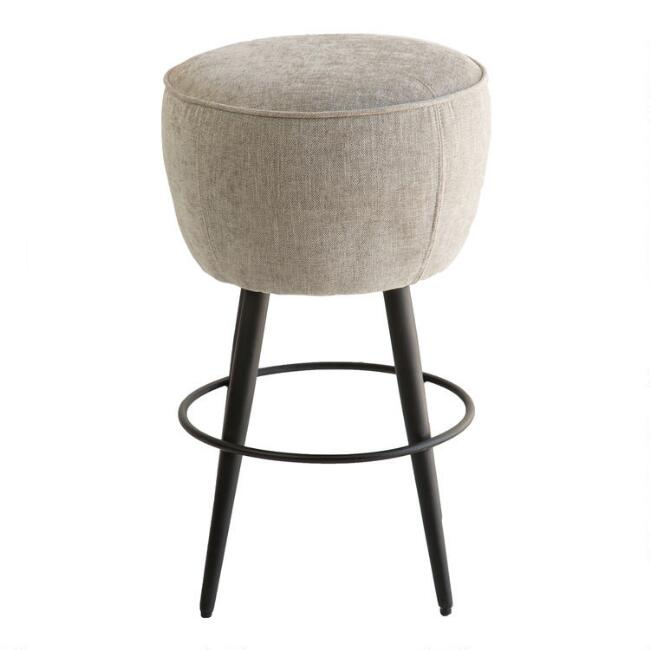 Round Taupe Backless Sonoma Upholstered Counter Stool