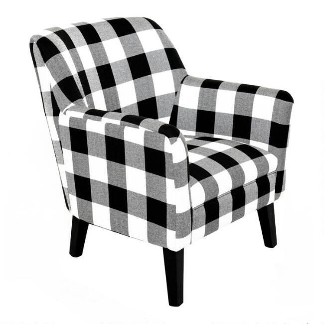 Black and White Gingham Aaron Upholstered Chair