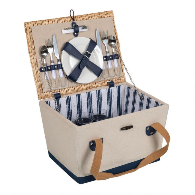Picnic Time Canvas and Wicker Boardwalk Picnic Basket
