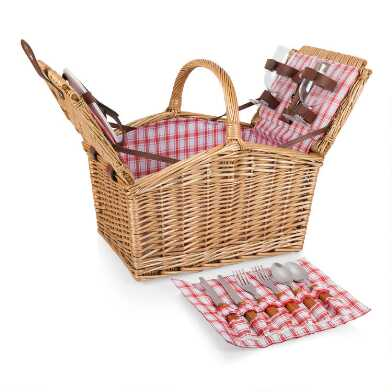 Picnic Time Red and White Wicker Piccadilly Picnic Basket