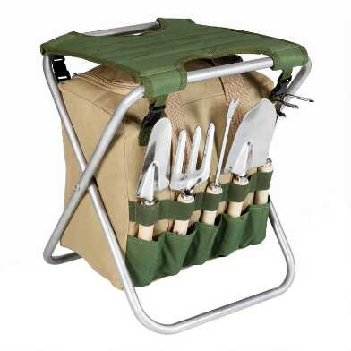Picnic Time Beige and Green Folding Garden Stool with Tools