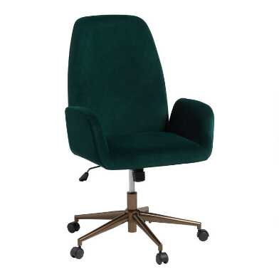 Dark Green Velvet Leighton Upholstered Office Chair