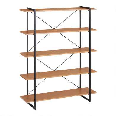 Large Distressed Metal and Wood Amador Bookshelf