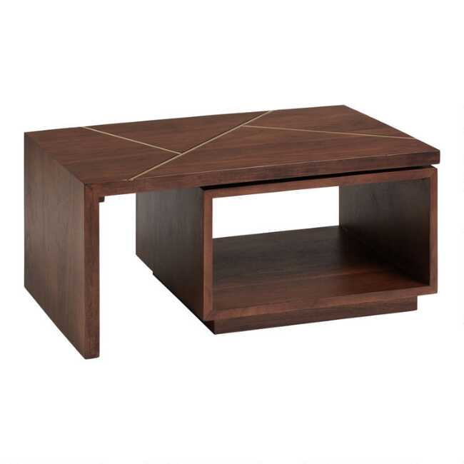 Shop Walnut And Gold Inlay Mason Swivel Coffee Table from World Market on Openhaus