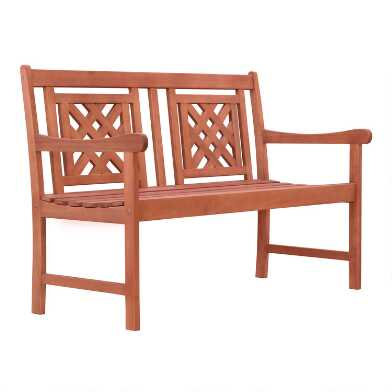 Natural Eucalyptus Halia Outdoor Bench
